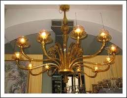 lampadari art deco : Grande lampadario Art Dec? color miele dorato in vetro di Murano ...